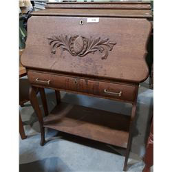 ANTIQUE DROP FRONT DESK W/CARVED DETAILS