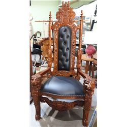 ORNATE HIGHLY CARVED MAHOGANY KING CHAIR