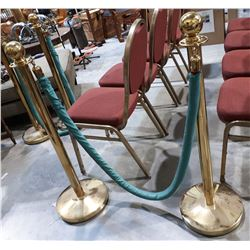 PAIR BRASS ROPE STANCHIONS