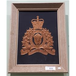 FRAMED COPPER EMBOSSED RCMP LOGO