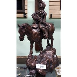 VINTAGE AUSTIN PRODUCTIONS SCULPTURE OF COWBOY ON HORSE