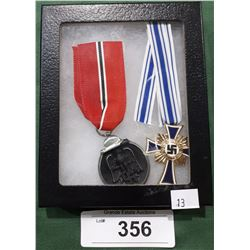 2 WWII NAZI MEDALS - REPRODUCTION IN DISPLAY BOX