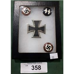 FOUR WWII NAZI PINS - REPRODUCTION IN DISPLAY BOX