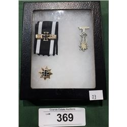 THREE WWII NAZI PINS IN DISPLAY BOX - REPRODUCTION