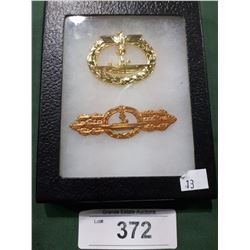 TWO WWII NAZI PINS IN DISPLAY BOX - REPRODUCTION