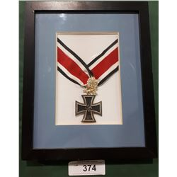 FRAMED WWII NAZI MEDAL - REPRODUCTION