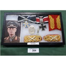 WWII NAZI FIELD MARSHAL ERWIN ROMMEL MILITARIA DISPLAY - REPRODUCTION