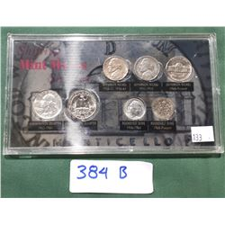 DISPLAY CASE OF SHIFTING MINT MARK COINS