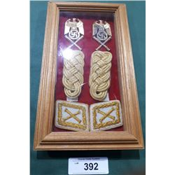 WWII NAZI PIN & SHOULDER BARS IN DISPLAY CASE - REPRODUCTION