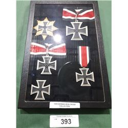 5 WWII NAZI GERMAN CROSS MEDALS IN DISPLAY CASE - REPRODUCTION