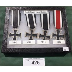 FOUR WWII NAZI SECOND CLASS IRON CROSS MEDALS 1813, 1870, 1914, 1939- REPRODUCTION