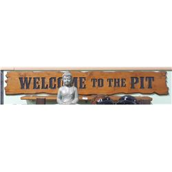 MOVIE PROP - WELCOM TO THE PIT BAR SIGN & 2 SHELVES