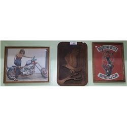 TWO FRAMED PRINTS & WOOD WALL PLAQUE