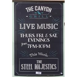 MOVIE PROP - CANYON GRILL LIVE MUSIC SIGN