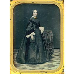 1/4 plate Daguerreotype   FULL STANDING WOMAN BY ANSON.
