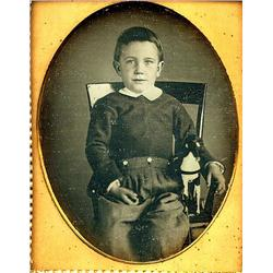 Daguerreotype   BOY WITH HORSE TOY.