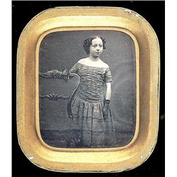 Framed Daguerreotype   GIRL BESIDE CHAIR.