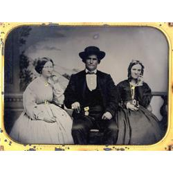 Ambrotype   GENTLEMAN 2 WIVES WITH PIPES