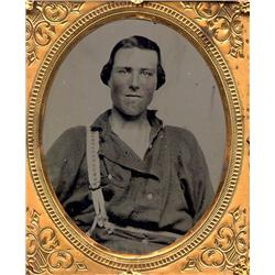 Ambrotype   WORKMAN WITH ONE SUSPENDER.