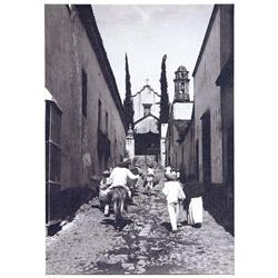 UP STREET TOWARDS CHURCH, CUERNAVACA,  1910. Brehme