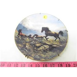 "COLLECTIBLE PLATE (HORSES ""DISTANT THUNDER"") *BY PERRIS CLAYTON WEIRS* (PLATE # 550 B)"
