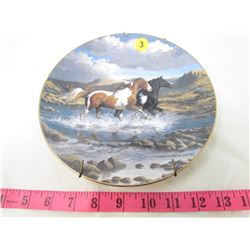"COLLECTIBLE PLATE (HORSES ""FOREVER FREE"") *BY PERRIS CLAYTON WEIRS* (PLATE # 752 B)"