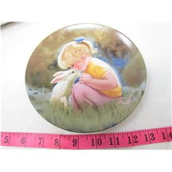 "COLLECTIBLE PLATE (GIRL AND RABBIT ""TENDER MOMENT"") *BY DONALD ZOLAN* (PLATE # 5128 H)"