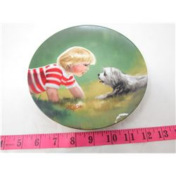 "COLLECTIBLE PLATE (GIRL AND DOG ""MAKING FRIENDS"") *BY DONALD ZOLAN* (PLATE # I 3830)"