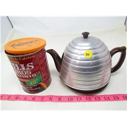HONEYCOMB TEAPOT AND TIN (HILLS BROS COFFEE)