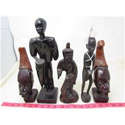 "LOT OF 5 WOOD ""AFRICAN"" STATUETTES"