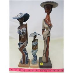 "LOT OF 3 WOOD ""AFRICAN"" STATUETTES"
