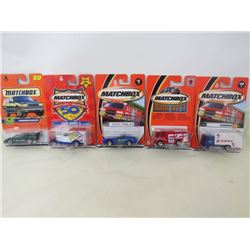 LOT OF 5 MATCHBOX VEHICLES (LAMBURGHINI COUNTACH, FORD MODEL A, GARBAGE AND FIRE TRUCKS, DODGE VIPER