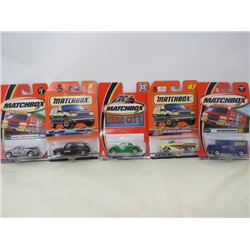 LOT OF 5 MATCHBOX VEHICLES (LONDON TAXI, INTERNATIONAL VOLKSWAGON TAXI, 1957 CHEVY BELAIR CONVERTIBL