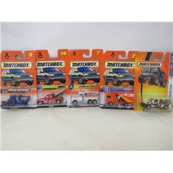 LOT OF 5 MATCHBOX VEHICLES (PETERBILT BP TANKER, VOLVO CT, FORD EXPEDITION, GMC, GRAIN GRABBER)