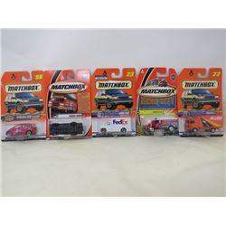 LOT OF 5 MATCHBOX VEHICLES (MERCEDES BENZ A CLASS, DENNIS SABRE, FORD VAN, AMBULANCE, VOLVO CT)
