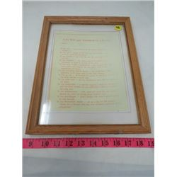 PRINT (LAST WILL AND TESTAMENT OF A FARMER) *FRAMED*