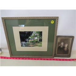 LOT OF 2 PICTURES (GARDEN PICTURE FRAMED) *2 PEOPLE*