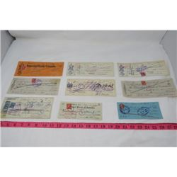 LOT OF 9 CHEQUES (ANTIQUE)