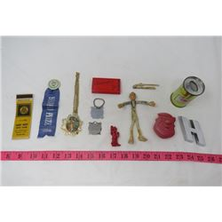 LOT OF JUNK DRAWER ITEMS (MATCHBOOK COVER, 2ND PLACE RIBBON, ETC)