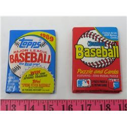LOT OF 2 WAX PACKS OF MLB TRADING CARDS (1989)