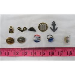 LOT OF 10 COLLECTIBLES (NIXON PIN, CP BUTTONS, ETC)