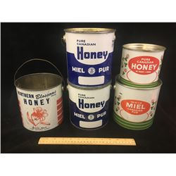 LOT OF VINTAGE HONEY TINS