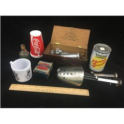MISC LOT INCLUDING A DAVY CROCKETT MUG, WOODEN BOX ETC…