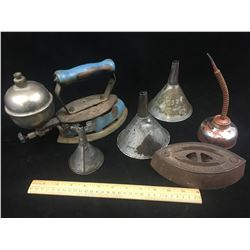 MISC LOT INCLUDING (GAS IRON, FUNNELS, SAD IRON, ETC…)