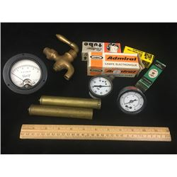 MISC LOT INCLUDING A BRASS TAP, GAUGES, TUBES, VOLT METER