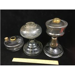 LOT OF 3 ANTIQUE OIL LAMP BASES