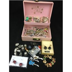 JEWELLERY BOX WITH CONTENTS (ROCK PINS, EARRINGS, THIMBLES)