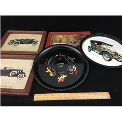 LOT OF AUTOMOBILE WALL HANGINGS AND TIN TRAYS
