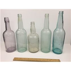 LOT OF ANTIQUE BOTTLES (SOME AQUA AND A PURPLE)