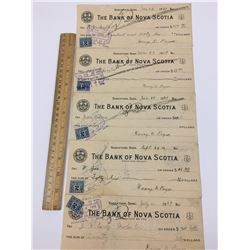 LOT OF 5 BANK OF NOVA SCOTIA CHEQUES WITH 2 CENT STAMPS (1920'S)